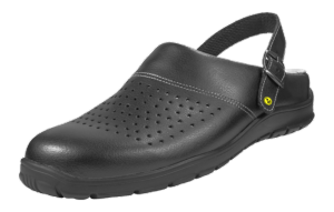 Black ESD Perforated Leather clogs with Heel Straps 41-47