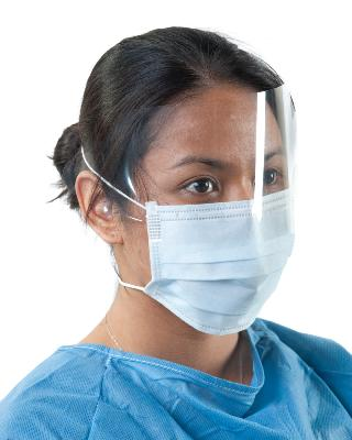 Face Masks with over head straps anti-fog visor box 50