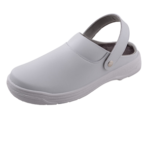White Washable Clogs with Heel Strap
