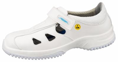 36795 ESD white microfibre shoe with vents & fastening strap
