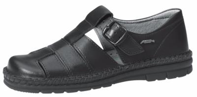 6610 ladies sandal black smooth leather uppers with buckle