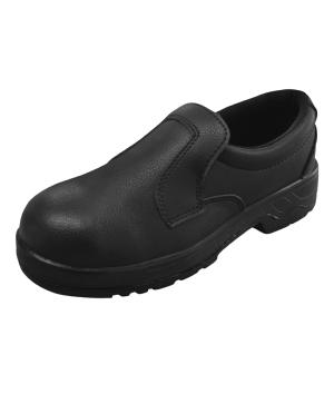 Black Microfibre slip on SAFETY shoe machine washable 305B