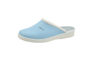 74950 Light Blue Leather Clogs