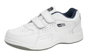 White coated leather trainers fastening straps