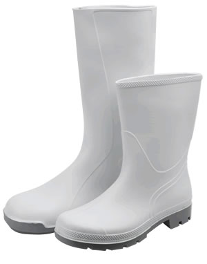 S014 Full Wellingtons Boots White PVC washable to 50c (S014- Full )