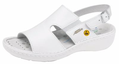 36874 XXL Width ESD ladies sandal white smooth leather uppers