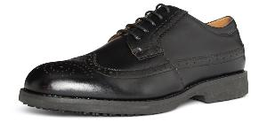 Indiana Black Leather Slip Resistant Sole Anti-static Manager Shoe