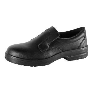 Black slip on nursing shoes texfibre uppers slip resistant P303