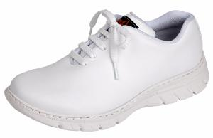 White Microfibre Washable lace up Trainer Style shoe