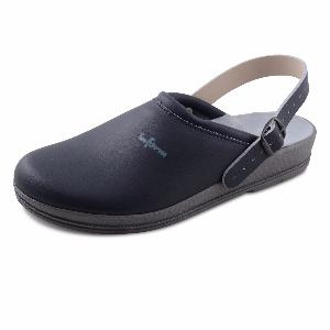 Navy Blue Leather Clogs Anti-Static with Padded Instep & heel strap 00-12HS