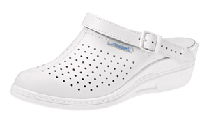 7001 Ladies high clog white perforated (NARROW FIT)