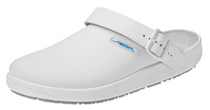 9200 White Smooth Leather Unisex Nursing Clogs