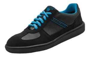 Black & blue leather ESD safety trainers SRC anti-slip
