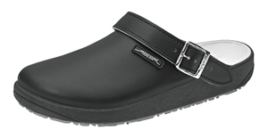 9252 Black Unisex leather nursing clogs