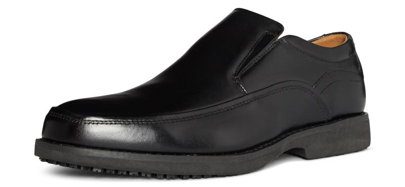 Michigan Black Leather Slip Resistant Sole Anti-static Manager Shoe