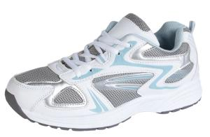 White Blue fabric trainers fastening straps