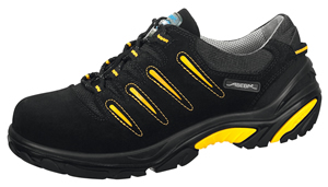 4582 Safety trainer black/yellow velours uppers acc wave insole