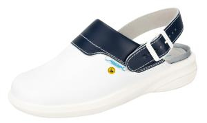 ESD White - Navy leather Clogs with heel strap SRC Slip Safe  37622