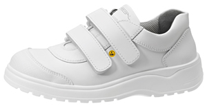 31047 ESD safety trainer white smooth leather two fastening straps