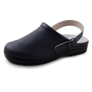 Navy Leather Clog with Heel Strap
