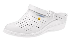 White Narrow Fit ESD Leather Clog with Higher Heel 5001