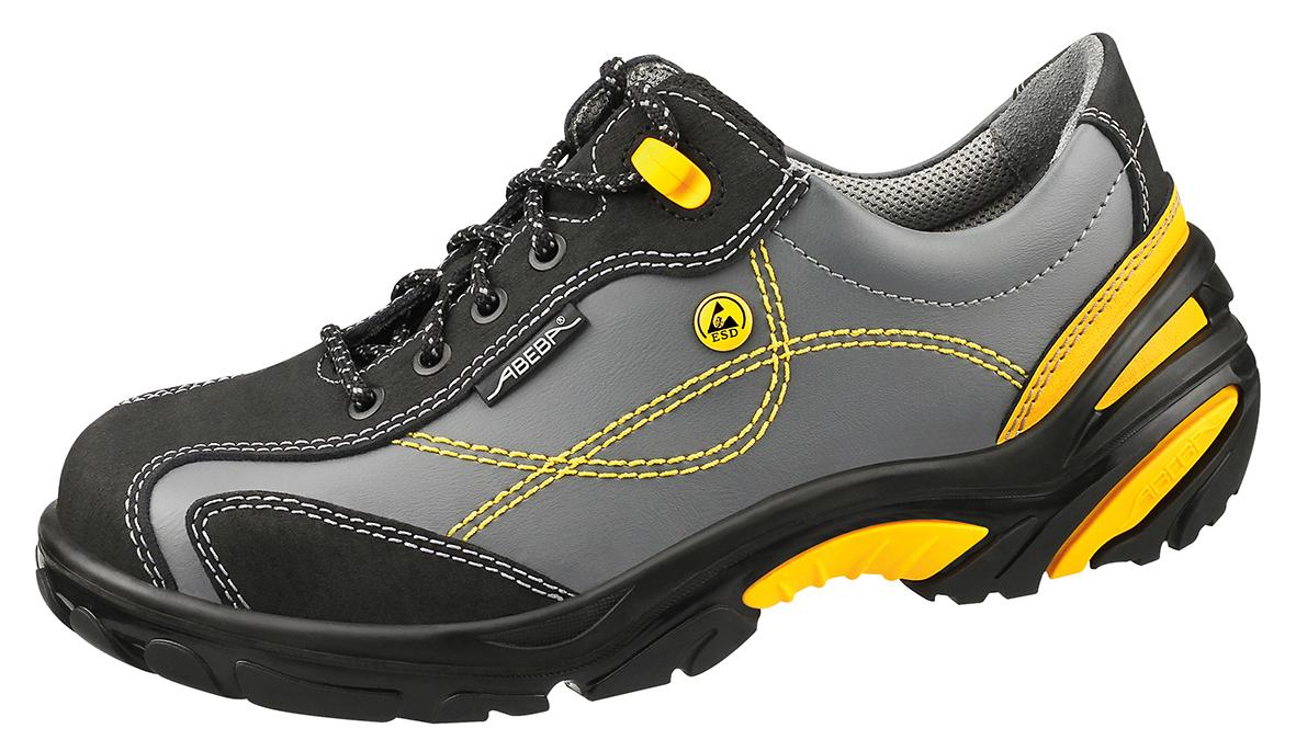 34222 ESD Safety trainers grey/yellow smooth leather uppers acc wave insole