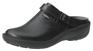 6813 XXL Width black smooth leather clogs replaceable insole