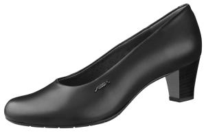 ESD Black Smooth Leather Ladies Court Shoes 3940