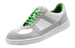 White-grey & green leather ESD safety trainers SRC slip