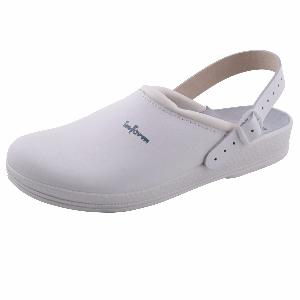 White Leather Clogs Anti-Static Padded Instep with heel straps 00-11HS