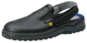 31035 ESD safety clog black smooth leather uppers fixed heel strap