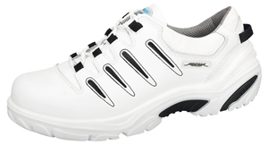 4584 Safety trainer white/black smooth leather uppers