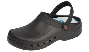 Black washable comfort nursing clogs with heel straps (EVA-PLUS)