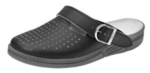 Black Perforated Leather Clogs Padded Instep with heel strap 7030