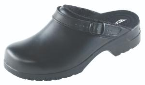 Black leather high clogs with heel strap anti-static SRC slip safe 468-01