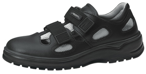 1036 Safety trainer black smooth leather with textile inlays