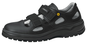 31036 ESD safety trainer black smooth leather textile inlays