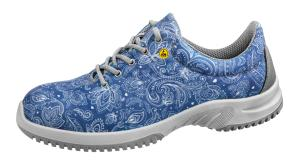 ESD Blue Textile Paisley pattern safety Trainer PU sole 31724