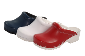Red Leather Anti-Static Clog with higher heel leather Insole 2360-05-R