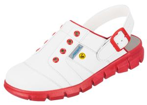 White and Red ESD Clogs