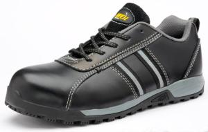 Tampa Black Leather SAFETY Trainers Slip Resistant Sole Anti-static
