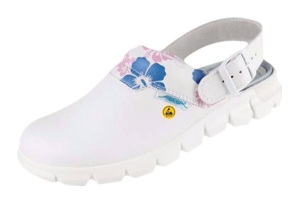 Soft hospital clogs with pattern round instep fitted with heel straps