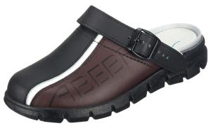 Black & Brown Clogs Pattern side, Padded Instep with heel strap  7315