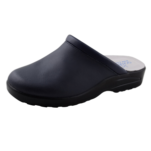 600NF-C Navy leather mule navy has higher heel and a padded insole.