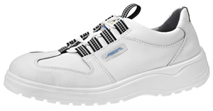 1033 Safety trainer white lace up smooth leather uppers