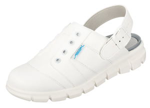 White clogs with heel strap removable insole