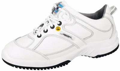 31770 ESD white leather lace up trainer with acc wave insole