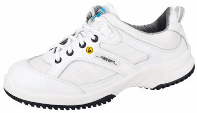 31720 ESD white leather lace up trainer