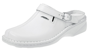 6903 Ladies white smooth leather clog with removable insole
