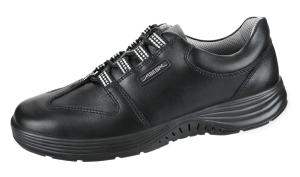 Black Smooth Leather lace up trainer with breathable lining 711138